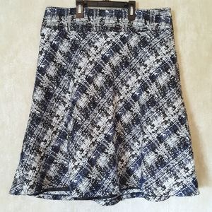 Cato blue, black and white textured skirt size 14